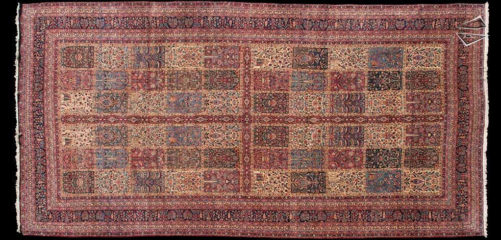 11x22 Antique Kerman Garden Design Rug