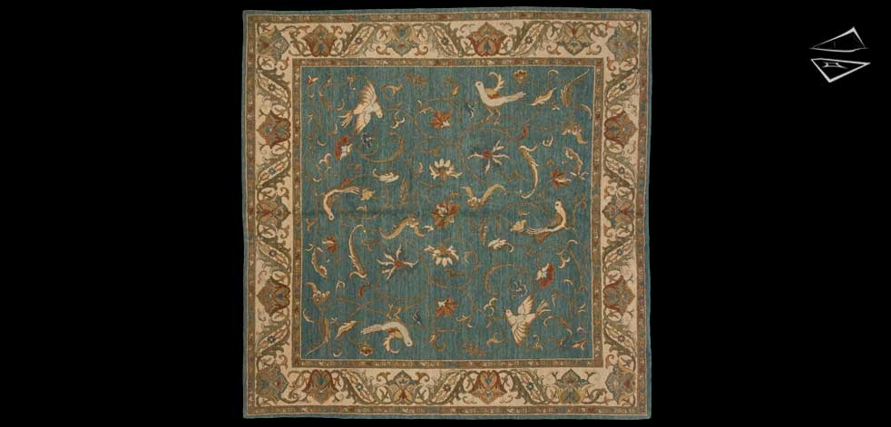 8x8 Bird Design Square Rug