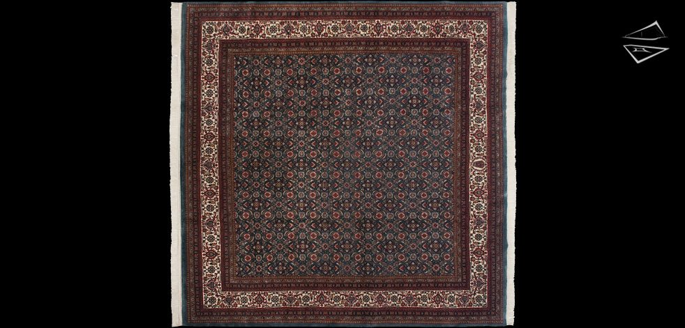 Herati Design Blue Square Rug 10 X 10