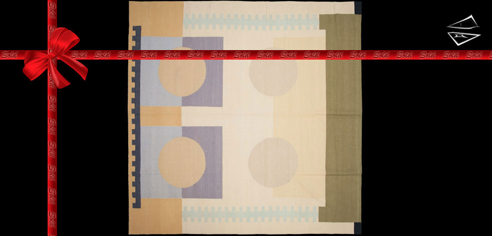 10x10 Modern Dhurrie Square Rug