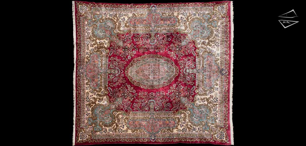 13x14 Persian Kerman Square Rug