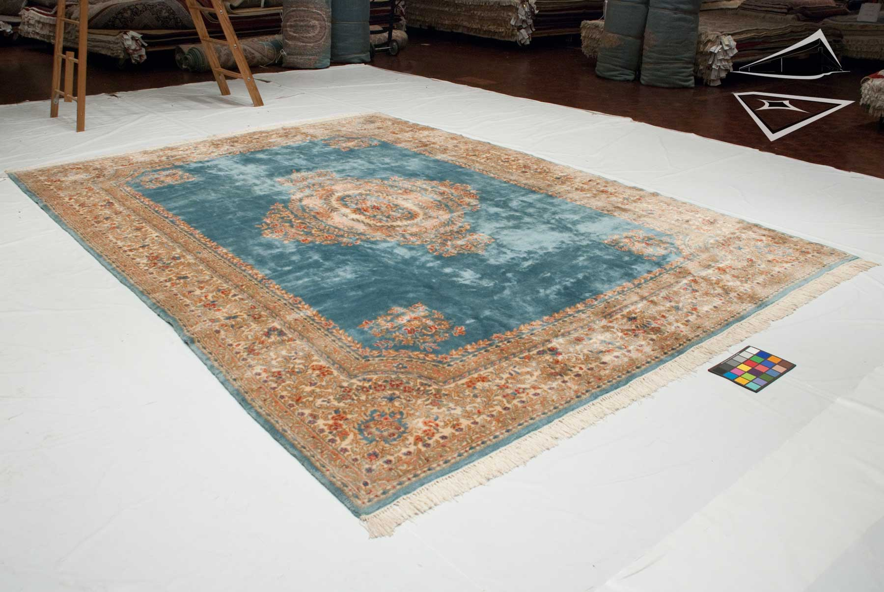 Persian Kerman Rug 10 X 14 Sky Blue
