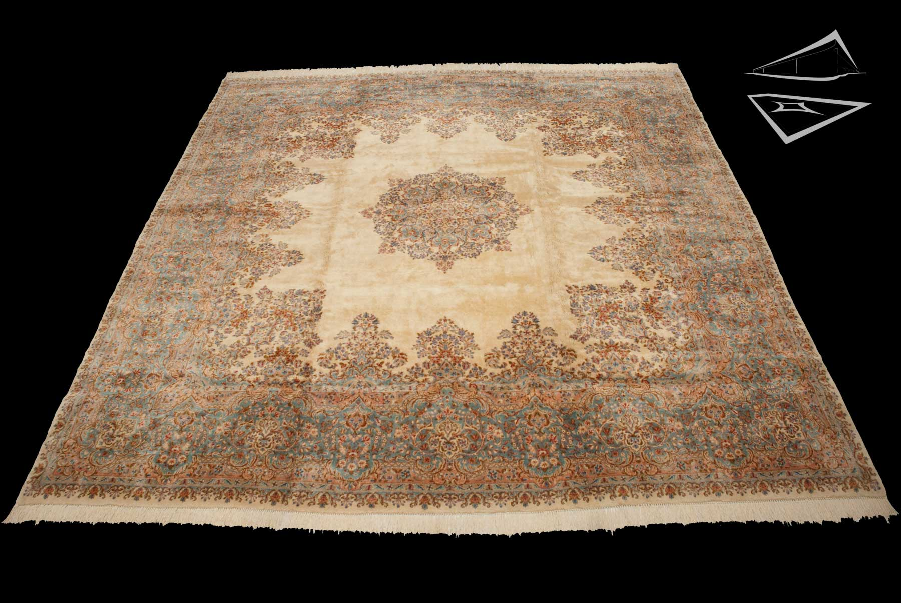 Persian kerman rug 14 39 x 14 39 for Rugs rugs and more rugs