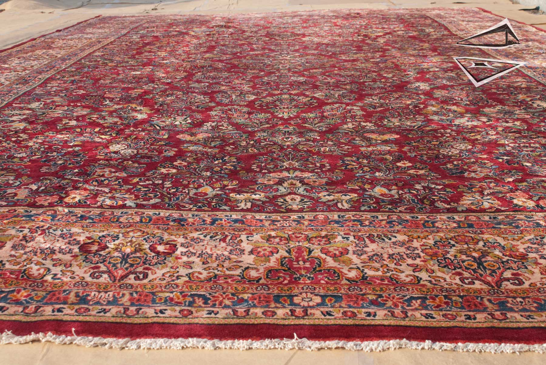 Persian Sarouk Rug 12 X 21 Red Ivory