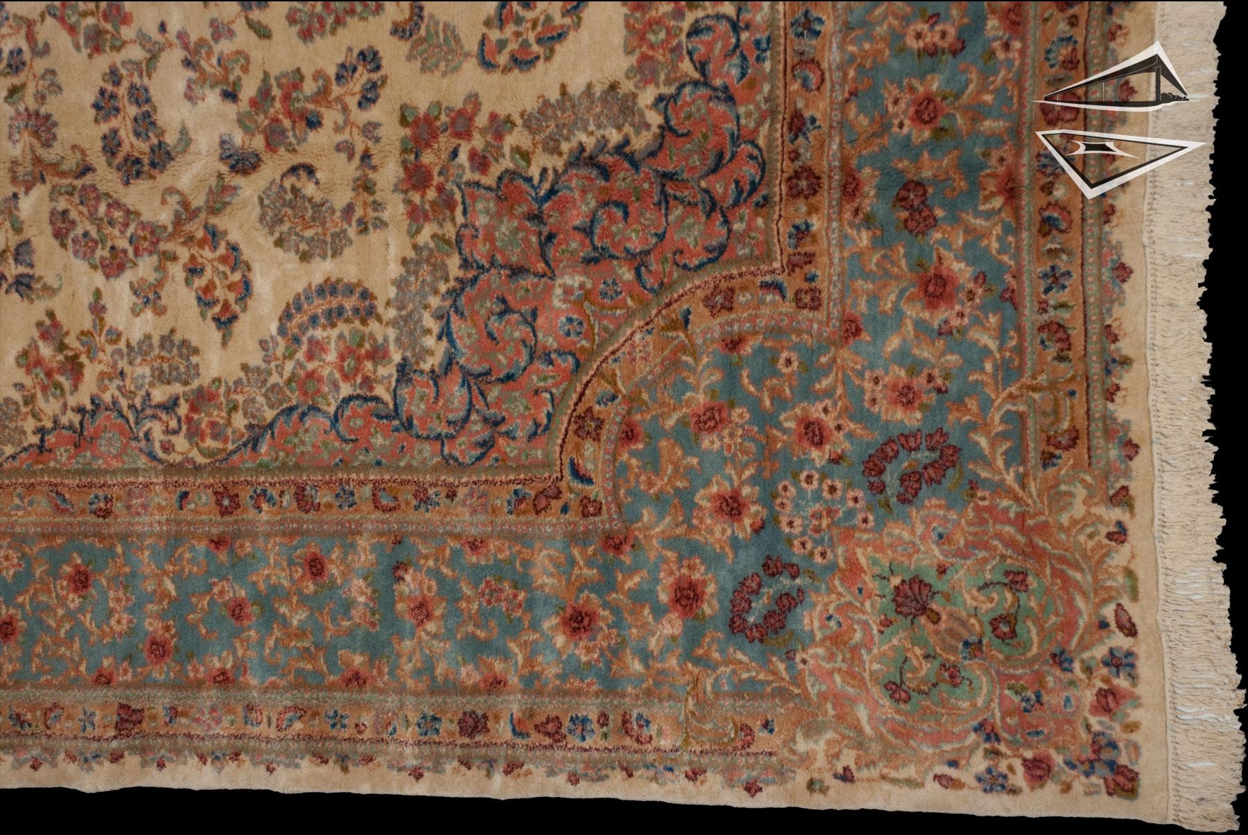 Persian Kerman Rug 10 X 18 Ivory