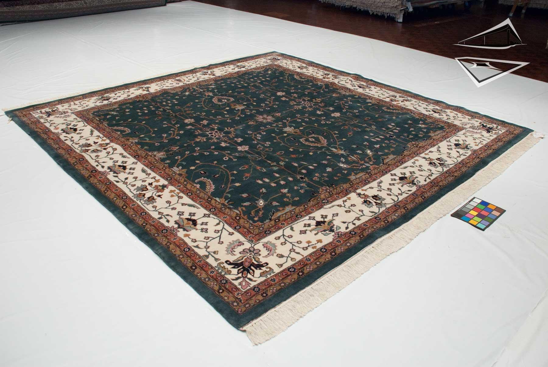 farahan sarouk design square rug 10 39 x 10 39 teal. Black Bedroom Furniture Sets. Home Design Ideas