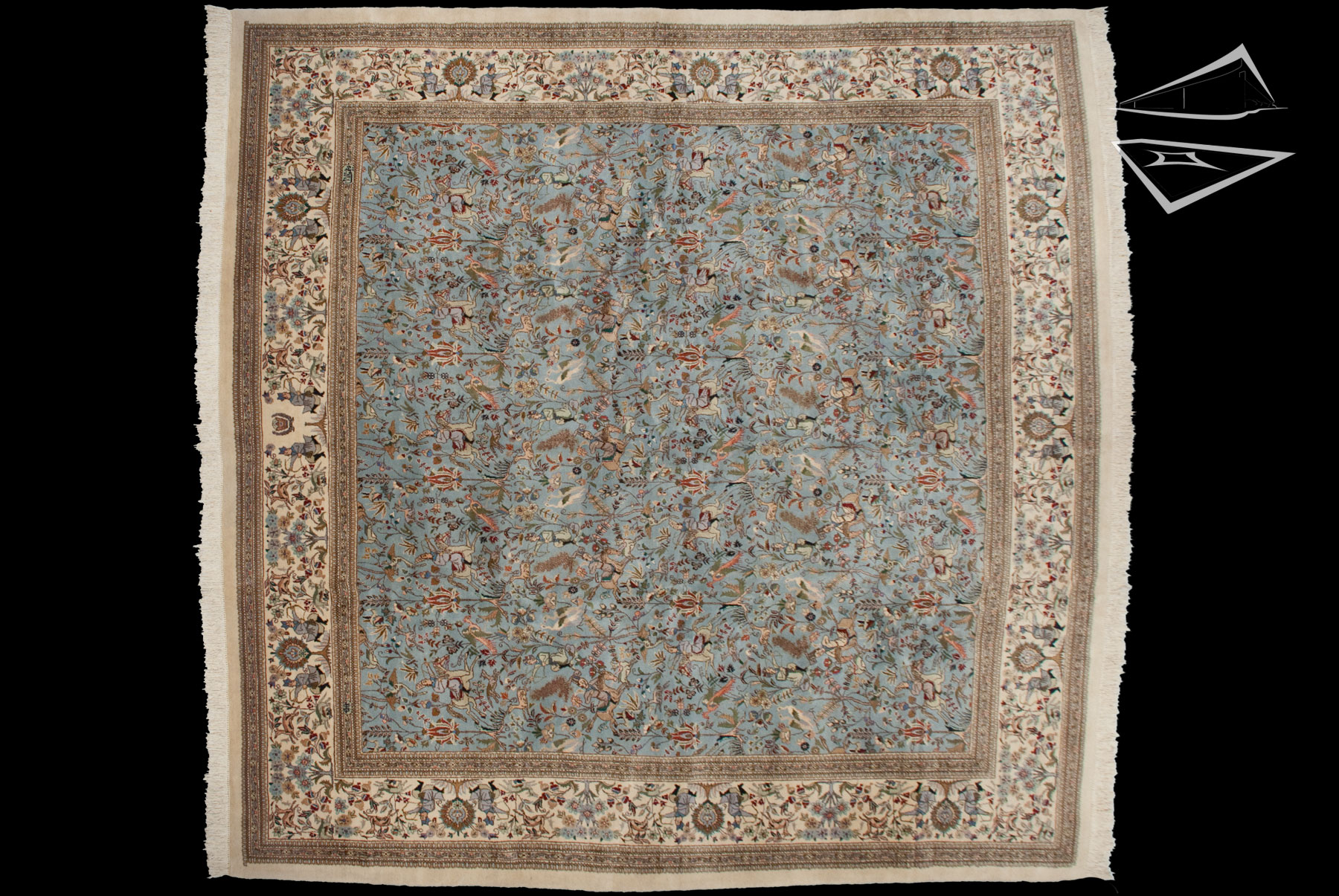 Square persian cyrus crown tabriz rug 12 39 x 12 39 for What size rug for 12x12 room